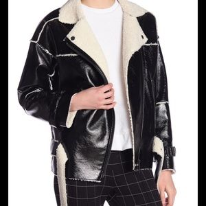 NWT Kenneth Cole Faux Patent Leather Jacket Black